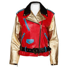 moschino leather vintage metallic gold color block motorcycle jacket 1990s for