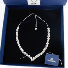 swarovski angelic square necklace large white crystal authentic mib 5368145