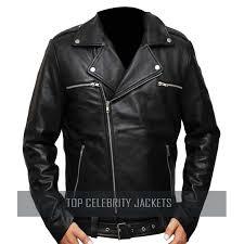 the walking dead negan men s black leather jacket top celebrity jackets
