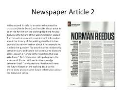 example of a newspaper article summary of the 5 newspaper articles i have found for the