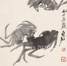 ink crab picture chinese painting printed by qi baishi