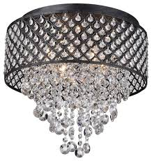 antique black 4 light round drum cascading crystal flush mount chandelier