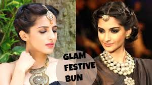 Different Bun Hairstyles Sonam Kapoors Easy Bun Hairstyle For Party Wedding Festival