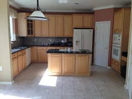 kitchen paint colors with oak cabinets and white appliances popular plus black granite countertop with sink