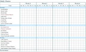Daily Chores Checklist Daily And Weekly Chore Chart Template Blank Templates Applynow Info