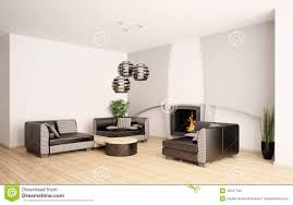 Modern Living Room With Fireplace Modern Living Room With Fireplace Interior 3d Stock Photos Image