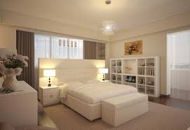 Soft White Bedroom for Small Space with Modern Design Luxurious Concept