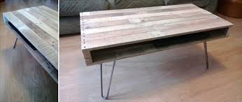 rustic pallet coffee table with metal legs