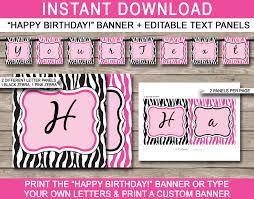 Pink Zebra Birthday Banner Template Birthday Banner Editable Bunting