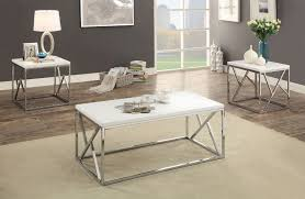 cm4811wh 3pk 3 pc kuzen white finish wood and chrome coffee and end table set