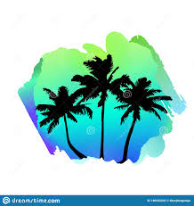 Postcard Designer Clothes Composition With Tropical Palm Trees On Watercolor Abstract