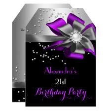 Black And Purple Invitations Purple Black Silver Bow Pearl Birthday Party Invitation