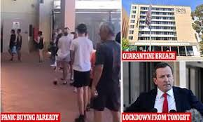 The president of western australia's branch of the australian medical association has warned the snap lockdown in perth and two nearby regions could extend beyond its initial five days. Western Australia Goes Into Five Day Lockdown After Hotel Quarantine Security Guard Tests Positive Daily Mail Online