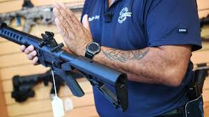 Bump stocks are simple pieces of equipment that replace the stock of a rifle and add a small support step in front of the trigger. On Eve Of Gun Control March Trump Announces Proposed Ban On Bump Stocks Baltimore Sun