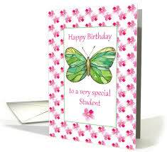 happy birthday pink and green happy birthday student green butterfly pink watercolor flowers card