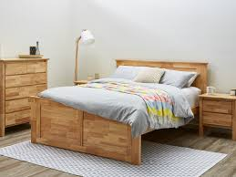 Hardwood King Bed Size Bedroom Suite Modern Natural Timber Stain Bedroom  Furniture Package
