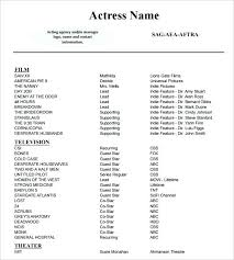Theatrical Resume Template Word Acting Resume Templates Free Samples