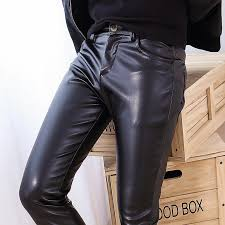 whole the new elastic pu men s leather trousers whole skin tights pants washed pu leather trousers men feet trousers yf144