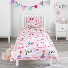 bloomsbury mill magic unicorn fairy princess enchanted castle kids bedding set pink junior toddler cot bed duvet cover and pillowcase on on