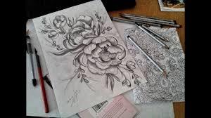 эскиз татуграфикапростой карандашпионы