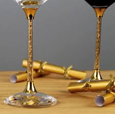 pair of wine glasses with gold swarovski crystals