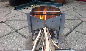 picture of collapsible wood burning camp stove on a budget
