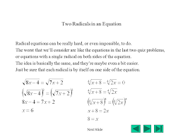 14 two radicals in an equation radical