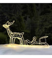 outdoor 3d led rope light up reindeer sleigh garden decoration