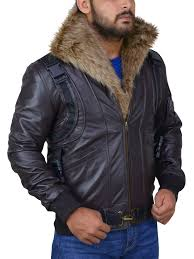 brown leather jacket with fur collar fur collar brown leather jacket for men