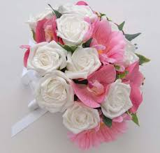 bride bouquet for summer brides pink orchids and white roses