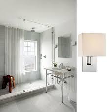 chrome bathroom sconces. Modern Chrome With White Shade George Kovacs Wall Sconce Bathroom Sconces
