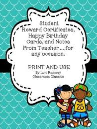 Teachers Birthday Card Reward Certificates Birthday Cards Notes From Teacher