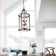glass round oversized lantern chandeliers with black metal frame for living room ideas