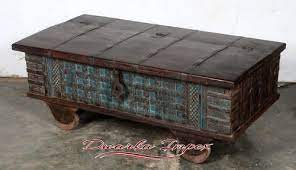 wood rustic blue antique trunk box