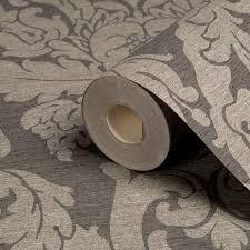 Wallpapering For A Living Room Gold Kensington Charcoal Damask Metallic Wallpaper Departments