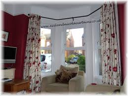 open eyelet curtains on angle bay pole
