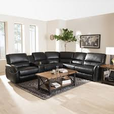 baxton studio amaris 5 piece black leather reclining sectional 28862 7896 hd the home depot