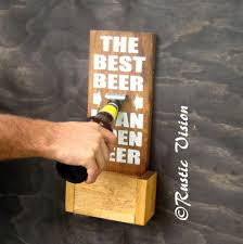 beer sign bottle opener with easy to empty cap catch groomsmen gift idea