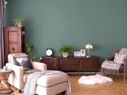 green feature wall midcentury modern sideboard living room allthelittledetails de