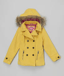 all gone yellow faux fur hooded peacoat