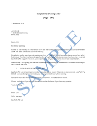 sample letter employee final warning letter sample lawpath
