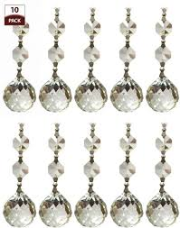 royal designs cpc 1006 ch 2 10 replacement chandelier crystal prism clear k9 quality faceted ball with chrome connectors and 2 octogan crystal beads pack of