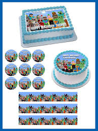 Minecraft Characters 5 Edible Cake Or Cupcake Topper Edible Prints