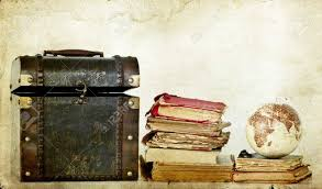 pile of old books on vine background with earth globe and box stock photo 21789598