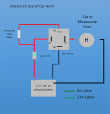 sinclair c5 simplified relay controls if you want a loud horn you can fit a car or motorcycle horn