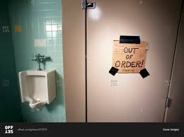 An Out Of Order Bathroom Stall Stock Photo Offset