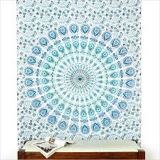 white boho mandala elephant tapestry hippie wall hanging bedspread small twin