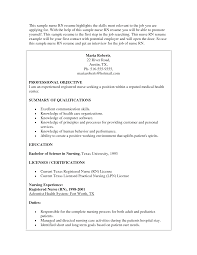 Sample Of Nursing Resume Free Resumes Tips