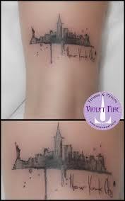 Tatuaggio Watercolor New York Violet Fire Tattoo