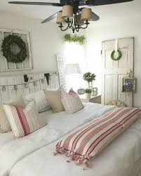 tranquil bedroom with red and white striped accents